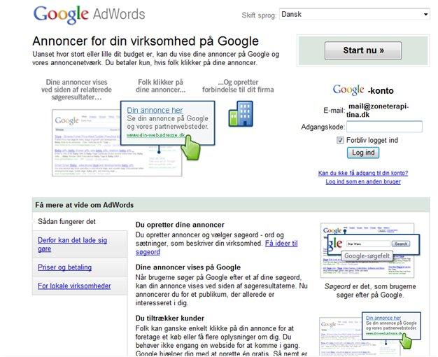 82ab05a3 Vælg, hvordan du vil logge ind på din Google AdWordskonto fremover. Har du  ikke allerede en Google-konto til mails og lign. så kan du oprette den nu,  ...